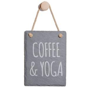 Coffee & Yoga Engraved Slate Memo Board - Portrait