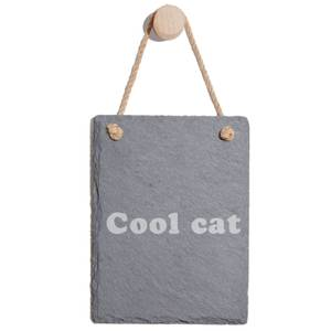 Cool Cat Engraved Slate Memo Board - Portrait