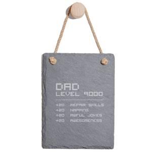 Dad Level Engraved Slate Memo Board - Portrait