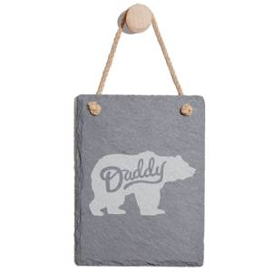 Daddy Bear Engraved Slate Memo Board - Portrait
