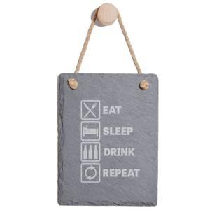 Eat, Sleep, Drink & Repeat Engraved Slate Memo Board - Portrait