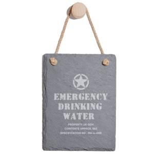 Emergency Drinking Water Engraved Slate Memo Board - Portrait