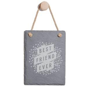 Floral Best Friend Ever Engraved Slate Memo Board - Portrait