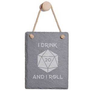 I Drink And I Roll D20 Engraved Slate Memo Board - Portrait