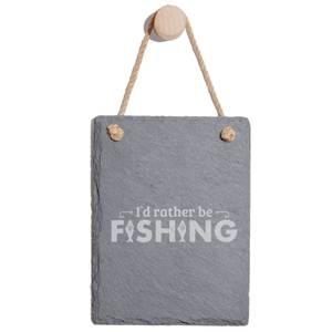I'd Rather Be Fishing Engraved Slate Memo Board - Portrait