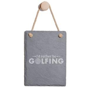 I'd Rather Be Golfing Engraved Slate Memo Board - Portrait