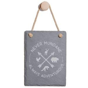 Never Mundane Always Adventurous Engraved Slate Memo Board - Portrait