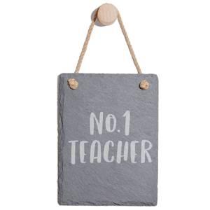 No.1 Teacher Engraved Slate Memo Board - Portrait