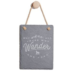 Not All Those Who Wander Are Lost Engraved Slate Memo Board - Portrait