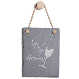 Sip Sip Hooray Engraved Slate Memo Board - Portrait