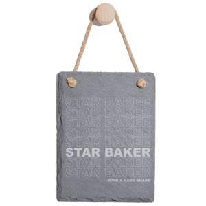 Star Baker With A Hand Shake Engraved Slate Memo Board - Portrait
