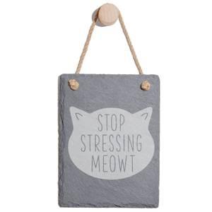 Stop Stressing Meowt Engraved Slate Memo Board - Portrait