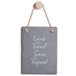 Work, Travel, Save Repeat Engraved Slate Memo Board - Portrait