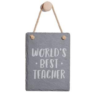World's Best Teacher Engraved Slate Memo Board - Portrait