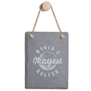 World's Okayest Golfer Engraved Slate Memo Board - Portrait