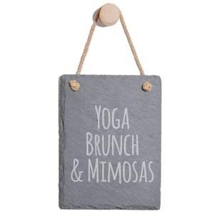 Yoga, Brunch & Mimosas Engraved Slate Memo Board - Portrait