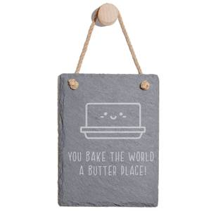 You Bake The World A Butter Place Engraved Slate Memo Board - Portrait