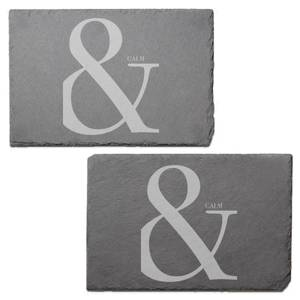 & Calm Engraved Slate Placemat - Set of 2
