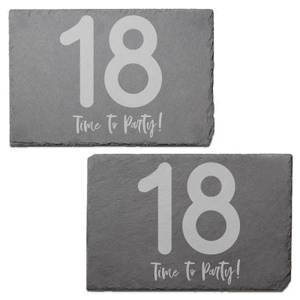 18 Time To Party! Engraved Slate Placemat - Set of 2