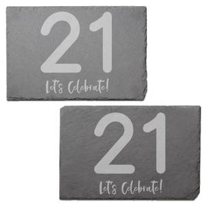 21 Let's Celebrate Engraved Slate Placemat - Set of 2