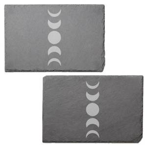 Abstract Moon Phase Engraved Slate Placemat - Set of 2