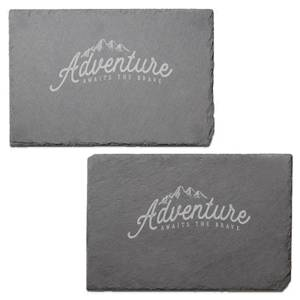 Adventure Awaits The Brave Engraved Slate Placemat - Set of 2