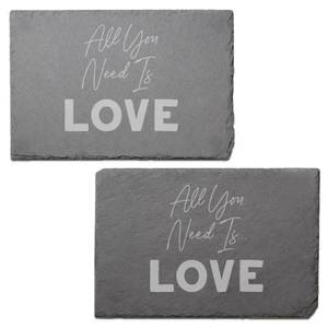 All You Need Is Love Engraved Slate Placemat - Set of 2
