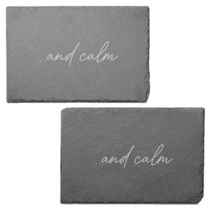 And Calm Engraved Slate Placemat - Set of 2