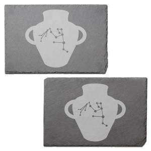 Aquarius Engraved Slate Placemat - Set of 2