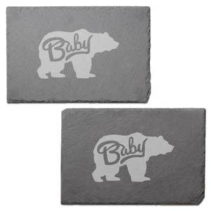 Baby Bear Engraved Slate Placemat - Set of 2