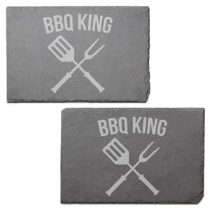 Bbq King Engraved Slate Placemat - Set of 2