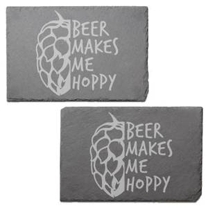 Beer Makes Me Hoppy Engraved Slate Placemat - Set of 2