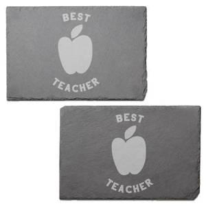 Best Teacher Engraved Slate Placemat - Set of 2