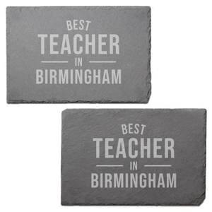Best Teacher In Birmingham Engraved Slate Placemat - Set of 2