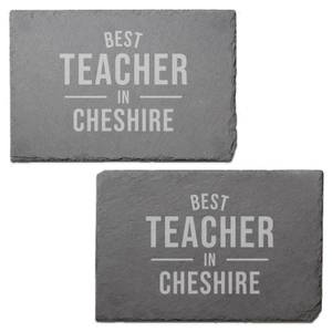 Best Teacher In Cheshire Engraved Slate Placemat - Set of 2