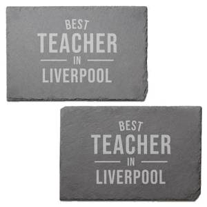 Best Teacher In Liverpool Engraved Slate Placemat - Set of 2
