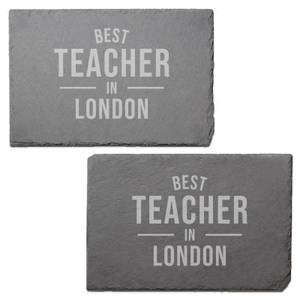 Best Teacher In London Engraved Slate Placemat - Set of 2