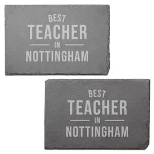 Best Teacher In Nottingham Engraved Slate Placemat - Set of 2