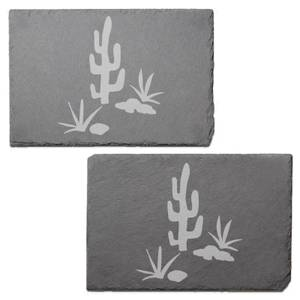 Cactus Scene Engraved Slate Placemat - Set of 2