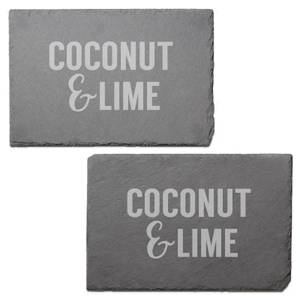 Coconut & Lime Engraved Slate Placemat - Set of 2