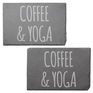 Coffee & Yoga Engraved Slate Placemat - Set of 2