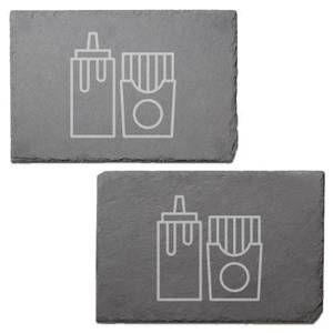 Condiments Engraved Slate Placemat - Set of 2