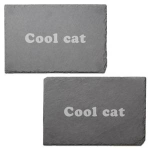 Cool Cat Engraved Slate Placemat - Set of 2