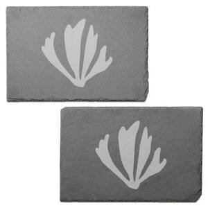 Coral Shapes Engraved Slate Placemat - Set of 2