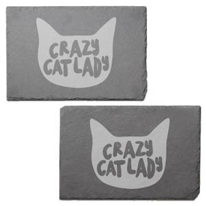 Crazy Cat Lady Engraved Slate Placemat - Set of 2