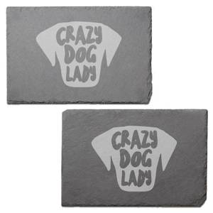 Crazy Dog Lady Engraved Slate Placemat - Set of 2