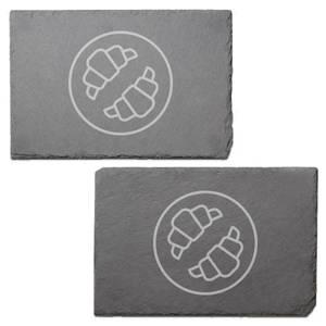 Croissants Engraved Slate Placemat - Set of 2