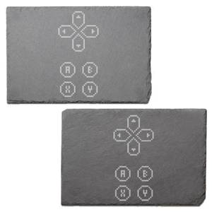 D Pad Engraved Slate Placemat - Set of 2