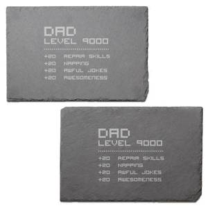 Dad Level Engraved Slate Placemat - Set of 2