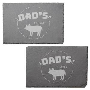 Dad's Bbq Engraved Slate Placemat - Set of 2
